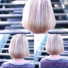 ストリート グラデーションカラー ボブ アッシュ ヘアスタイルや髪型の写真・画像