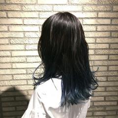 グラデーションカラー ストリート ロング ブルー ヘアスタイルや髪型の写真・画像