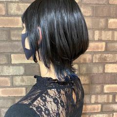 インナーカラー ウルフレイヤー ショート ナチュラル ヘアスタイルや髪型の写真・画像