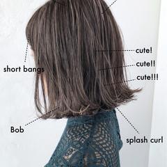 前髪あり ボブ ハイライト アシメバング ヘアスタイルや髪型の写真・画像