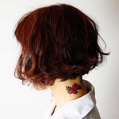 前下がり ボブ ピンク ベージュ ヘアスタイルや髪型の写真・画像