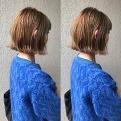 ナチュラル ブリーチオンカラー ミニボブ ボブ ヘアスタイルや髪型の写真・画像