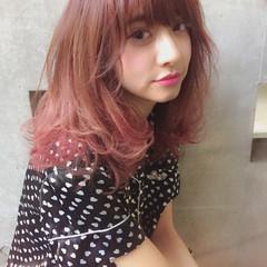大人かわいい グラデーションカラー ミディアム フェミニン ヘアスタイルや髪型の写真・画像