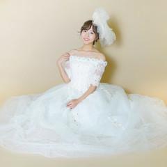 ブライダル 編みおろし 結婚式 ロング ヘアスタイルや髪型の写真・画像