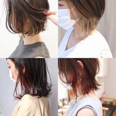 ミニボブ 切りっぱなしボブ ショートボブ ストリート ヘアスタイルや髪型の写真・画像