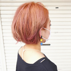 ボブ オレンジカラー ピンク ミニボブ ヘアスタイルや髪型の写真・画像