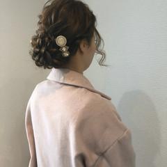 セミロング フェミニン ヘアセット アップスタイル ヘアスタイルや髪型の写真・画像