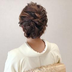 セミロング 結婚式 上品 エレガント ヘアスタイルや髪型の写真・画像
