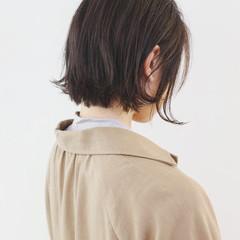 暗髪 ナチュラル ミニボブ アッシュグレージュ ヘアスタイルや髪型の写真・画像