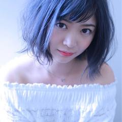 コンサバ ブルーアッシュ ボブ ハイライト ヘアスタイルや髪型の写真・画像