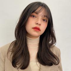 ロングヘア セミロング 韓国ヘア ナチュラル ヘアスタイルや髪型の写真・画像