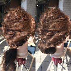 編み込み ナチュラル セミロング くるりんぱ ヘアスタイルや髪型の写真・画像