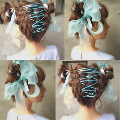 ハーフアップ 簡単ヘアアレンジ ミディアム ピュア ヘアスタイルや髪型の写真・画像