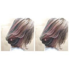 個性的 ストリート グレー ボブ ヘアスタイルや髪型の写真・画像