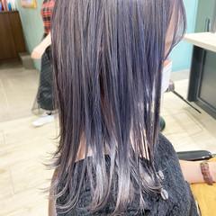 ラベンダーグレージュ ラベンダーグレー ミディアム バイオレットカラー ヘアスタイルや髪型の写真・画像