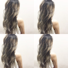 ガーリー ハイライト グラデーションカラー ハイトーン ヘアスタイルや髪型の写真・画像