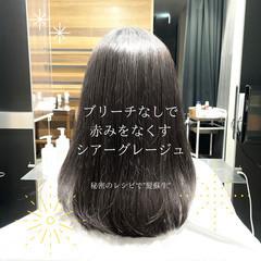 縮毛矯正 ミディアム ナチュラル ストレート ヘアスタイルや髪型の写真・画像
