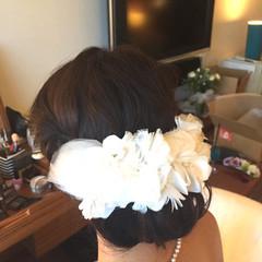 ブライダル 波ウェーブ セミロング 結婚式 ヘアスタイルや髪型の写真・画像