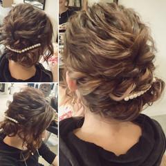 波ウェーブ ヘアアレンジ 編み込み ツイスト ヘアスタイルや髪型の写真・画像