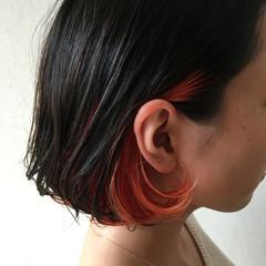 エレガント 上品 黒髪 インナーカラー ヘアスタイルや髪型の写真・画像
