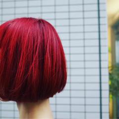 モード 外国人風 ボブ レッド ヘアスタイルや髪型の写真・画像