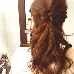 編み込み ショート 簡単ヘアアレンジ セミロング ヘアスタイルや髪型の写真・画像