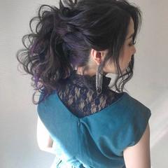 簡単ヘアアレンジ ナチュラル デート セミロング ヘアスタイルや髪型の写真・画像