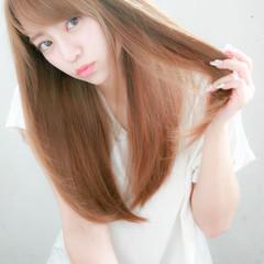 縮毛矯正 大人かわいい ストレート ロング ヘアスタイルや髪型の写真・画像
