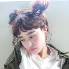 前髪パーマ オン眉 ショート 簡単ヘアアレンジ ヘアスタイルや髪型の写真・画像