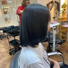 ブルー ブルーグラデーション ネイビーブルー ブルーブラック ヘアスタイルや髪型の写真・画像
