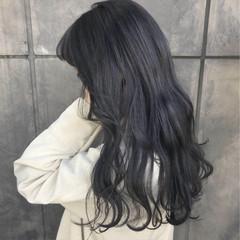パープル ロング ナチュラル ダークグレー ヘアスタイルや髪型の写真・画像