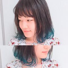 グラデーションカラー ブルー ボブ ダブルカラー ヘアスタイルや髪型の写真・画像