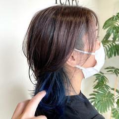 ミディアム ストリート ツーブロック インナーカラー ヘアスタイルや髪型の写真・画像