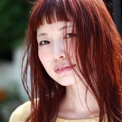 ストリート 重ため ミディアム ガーリー ヘアスタイルや髪型の写真・画像