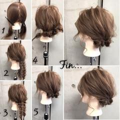 簡単ヘアアレンジ 三つ編み 簡単 ヘアアレンジ ヘアスタイルや髪型の写真・画像