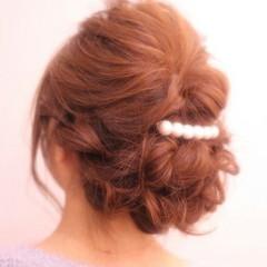 セミロング パーティ ヘアアレンジ 編み込み ヘアスタイルや髪型の写真・画像