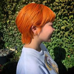 アプリコットオレンジ マッシュショート オレンジ ハンサムショート ヘアスタイルや髪型の写真・画像