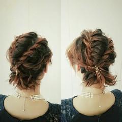 フェミニン ショート ヘアアレンジ ゆるふわ ヘアスタイルや髪型の写真・画像
