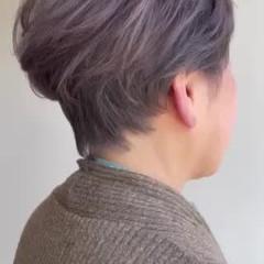 ナチュラル ショートヘア 大人ヘアスタイル 白髪染め ヘアスタイルや髪型の写真・画像
