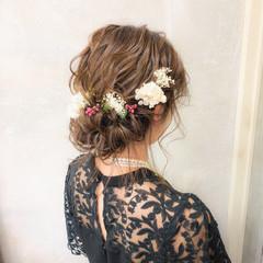 結婚式 ギブソンタック パーティ 上品 ヘアスタイルや髪型の写真・画像