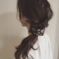 簡単ヘアアレンジ 暗髪 ヘアアレンジ 編み込み ヘアスタイルや髪型の写真・画像