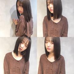 リラックス 女子会 セミロング オフィス ヘアスタイルや髪型の写真・画像
