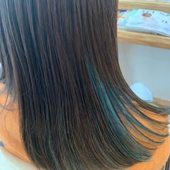 ダブルカラー ヘアカラー セミロング ストリート ヘアスタイルや髪型の写真・画像