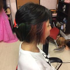 ベリーショート ショートヘア ミニボブ インナーカラー ヘアスタイルや髪型の写真・画像