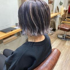 ストリート ブルーアッシュ ターコイズブルー ボブ ヘアスタイルや髪型の写真・画像