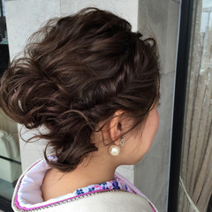 成人式 ハーフアップ セミロング ヘアアレンジ ヘアスタイルや髪型の写真・画像
