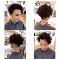 坊主 ボーイッシュ スパイラルパーマ ショート ヘアスタイルや髪型の写真・画像