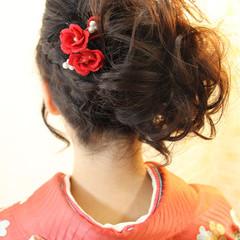 着物 セミロング ヘアアレンジ 編み込み ヘアスタイルや髪型の写真・画像