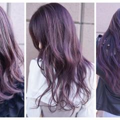 バレイヤージュ ロング グラデーションカラー ハイトーン ヘアスタイルや髪型の写真・画像
