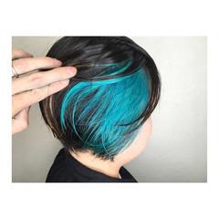 ハイトーン インナーカラー ミニボブ ボブ ヘアスタイルや髪型の写真・画像